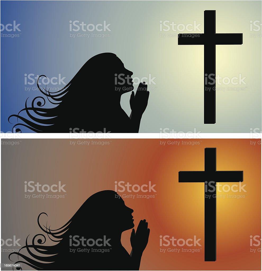 The Prayer Girl vector art illustration