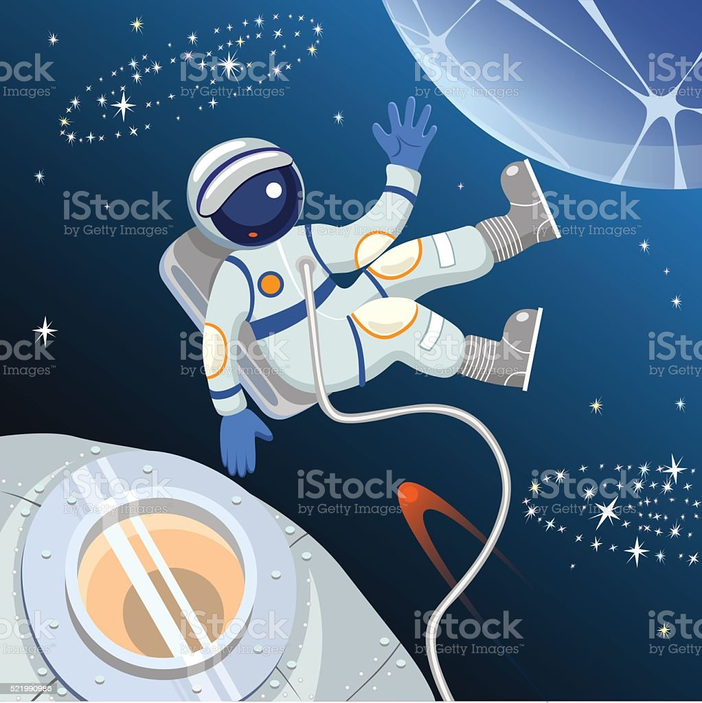The profession of astronaut. Astronaut in space. vector art illustration