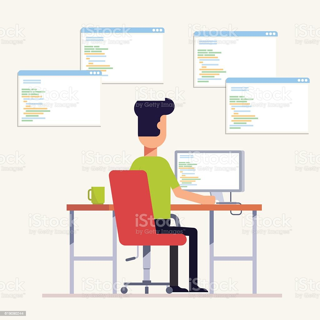 The programmer writes code on the computer. Multi-specialist. The vector art illustration