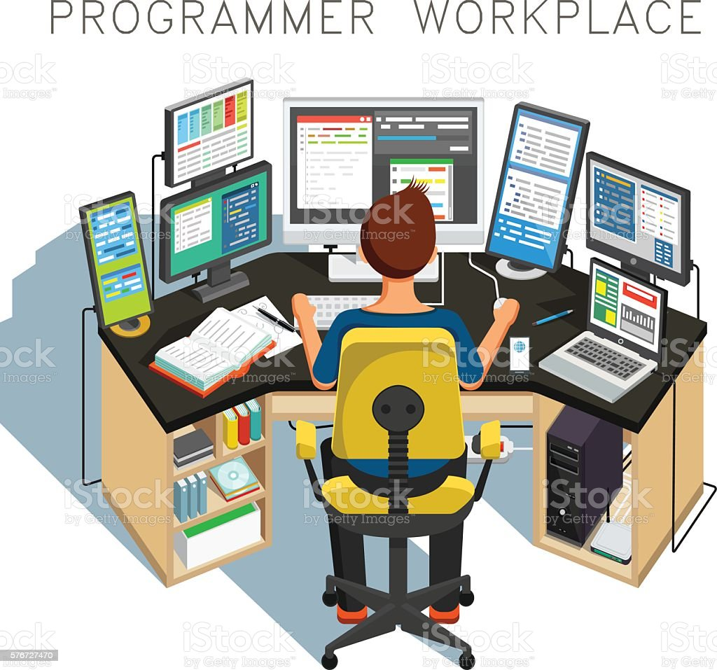The programmer writes code. Vector illustration vector art illustration