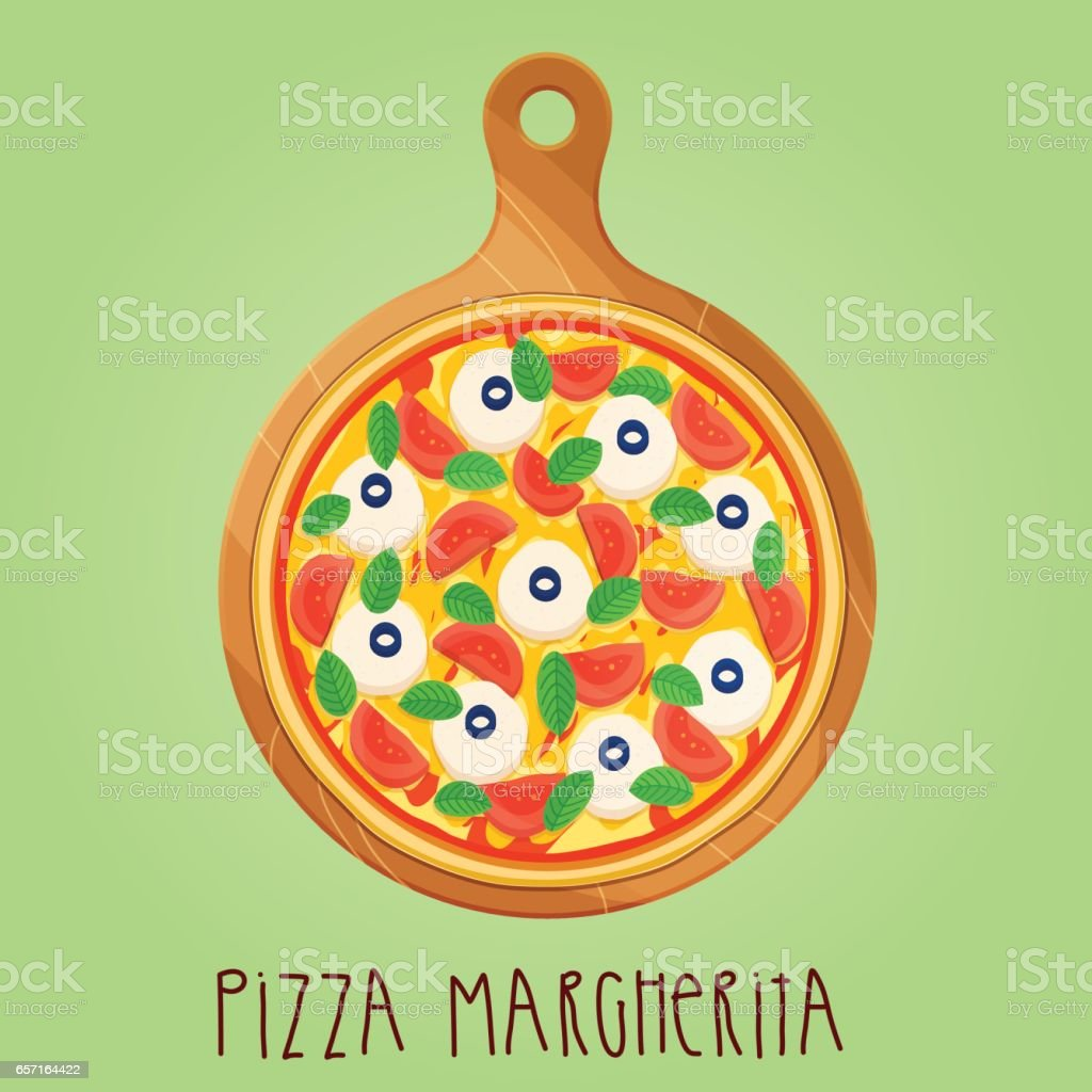 The real Pizza Margherita on wooden board vector art illustration