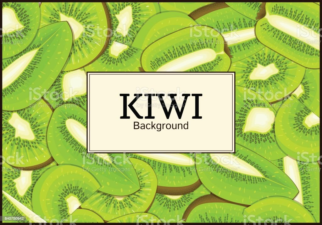 The rectangular frame on ripe kiwi fruit background. Vector card illustration. Delicious fresh juicy   peeled, piece of half slice seed. appetizing looking for packaging design food juice vector art illustration