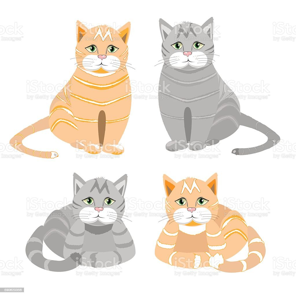 The red and gray cat sits and lies royalty-free stock vector art