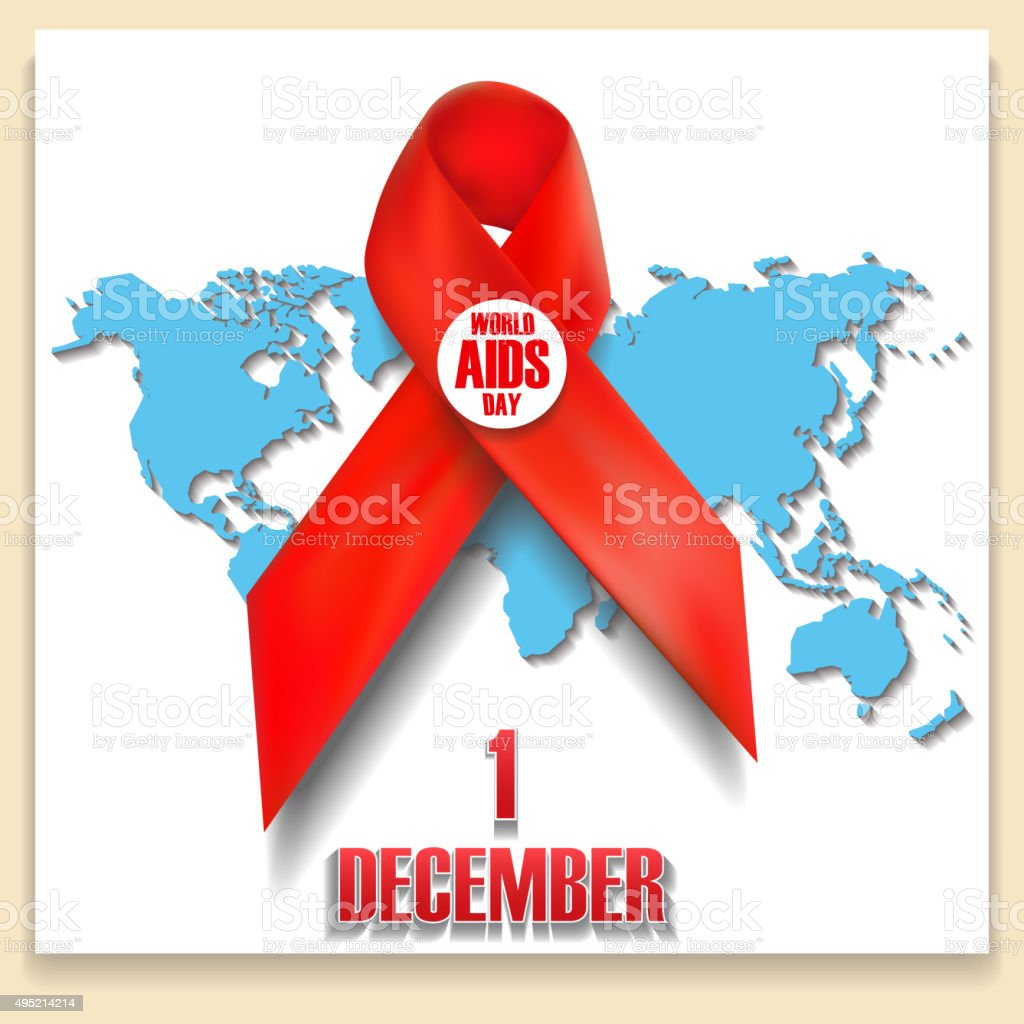 The red ribbon World AIDS Day concept. vector art illustration