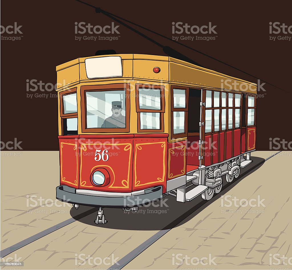 The red Tram royalty-free stock vector art