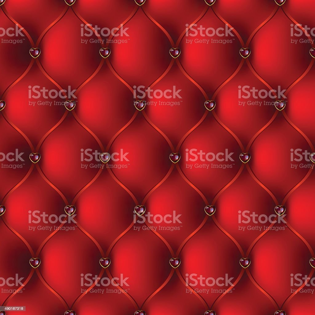 The red upholstery with jewelry pattern stock photo