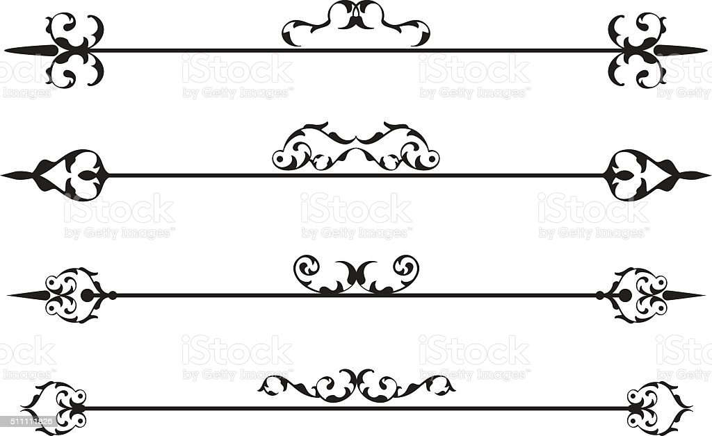 The retro baroque divide set vector art illustration