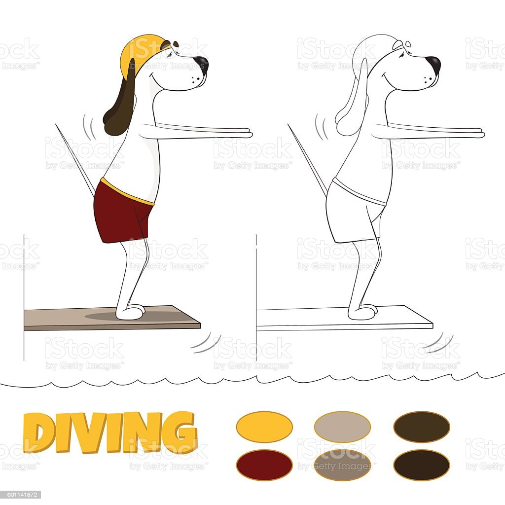 The ridiculous cartoon dog jumps in water from tower. Vector vector art illustration