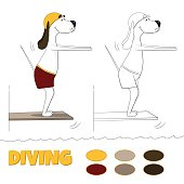 The ridiculous cartoon dog jumps in water from tower. Vector