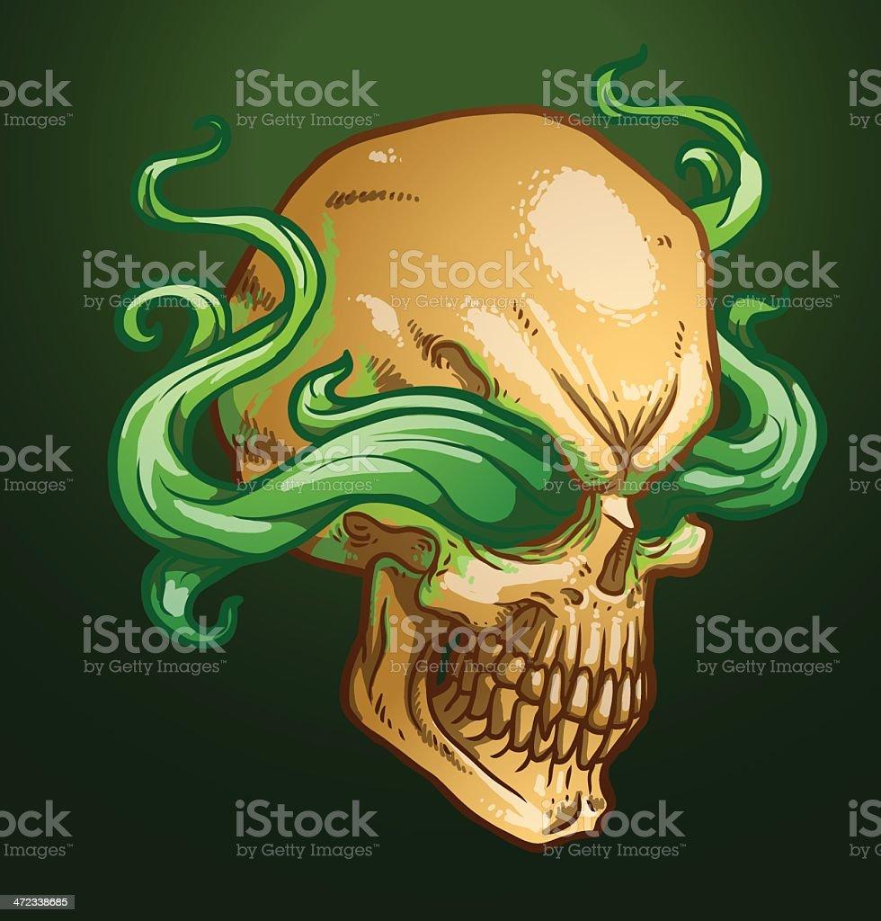 The right profile necromancer skull royalty-free stock vector art