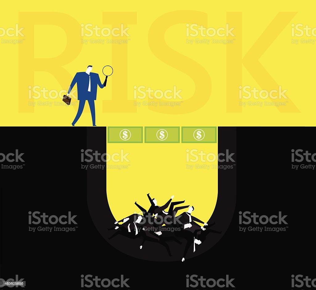 The risk behind money vector art illustration
