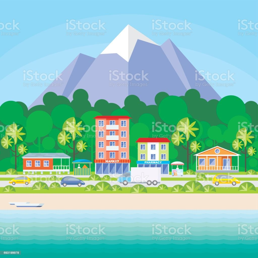 the road along the shore vector art illustration