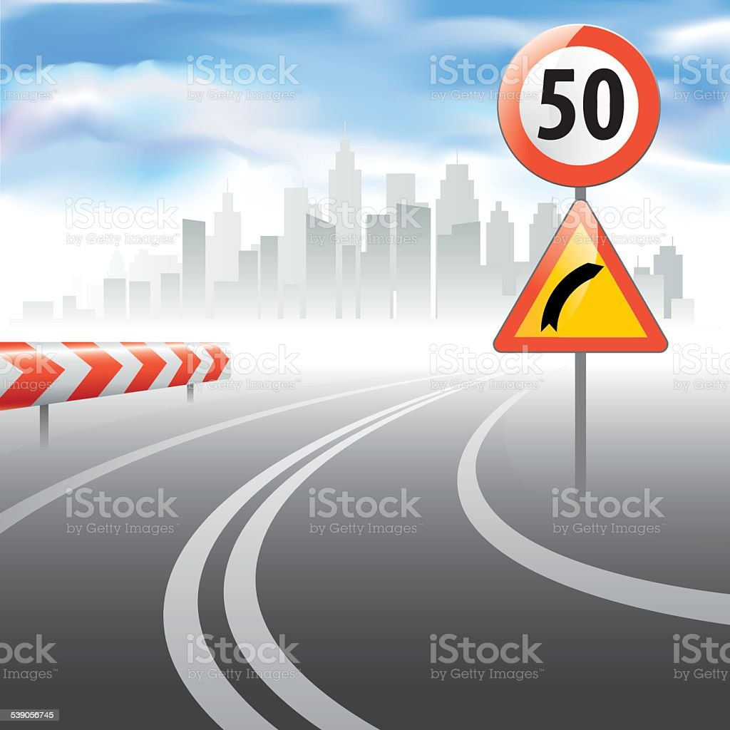 The road with speed speed limit sign vector art illustration