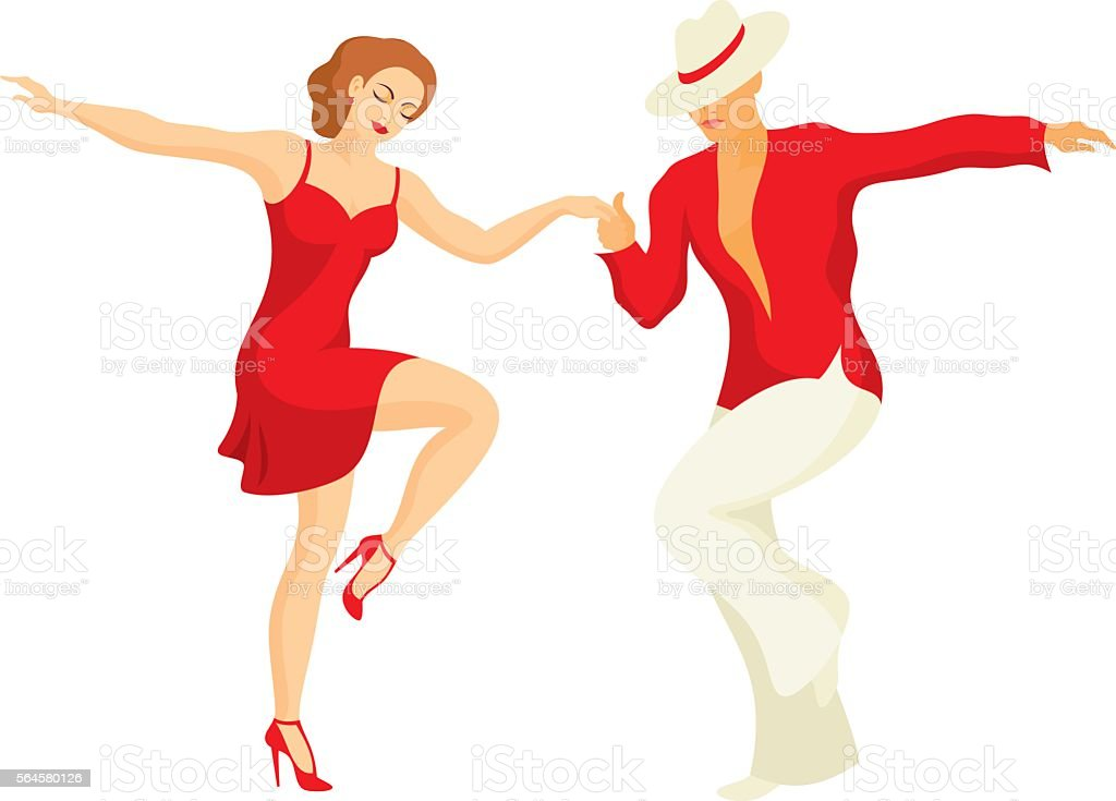 the salsa dance vector art illustration