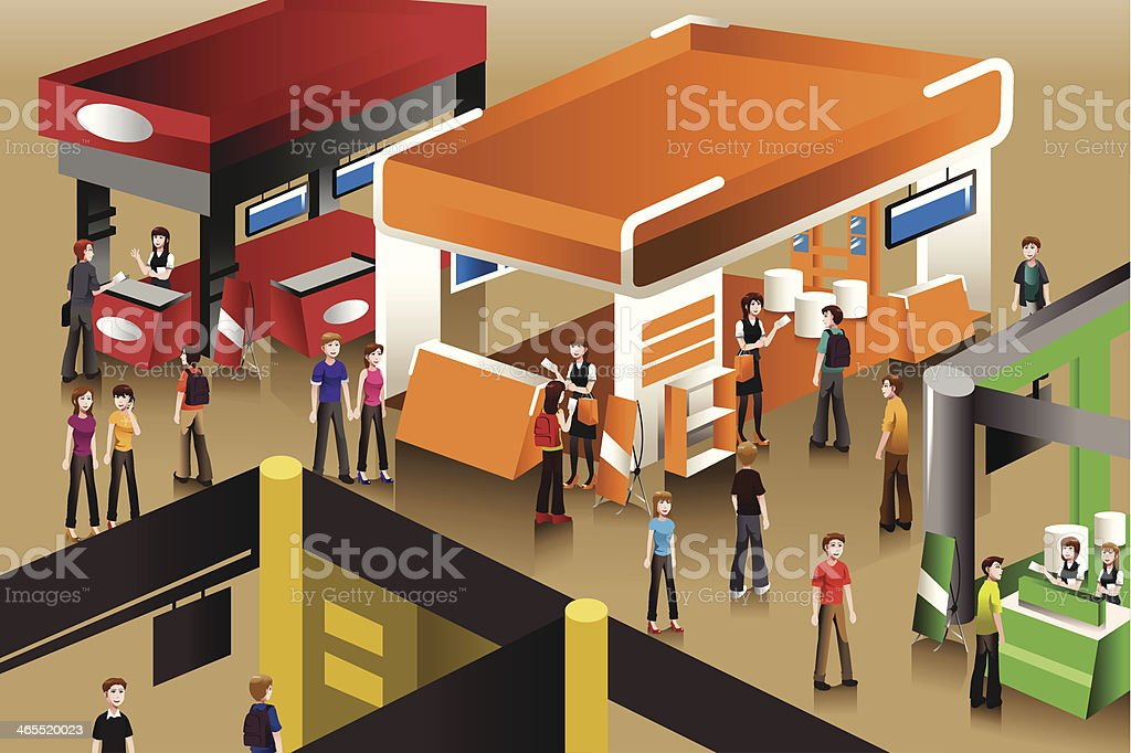 The scene at an exhibition booths vector art illustration