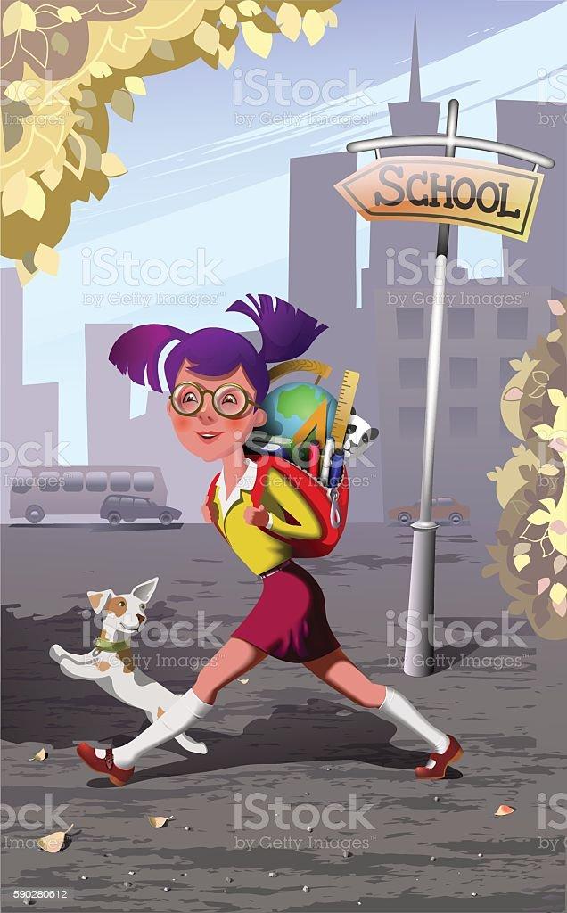 the schoolgirl hurries in school. autumn vector art illustration