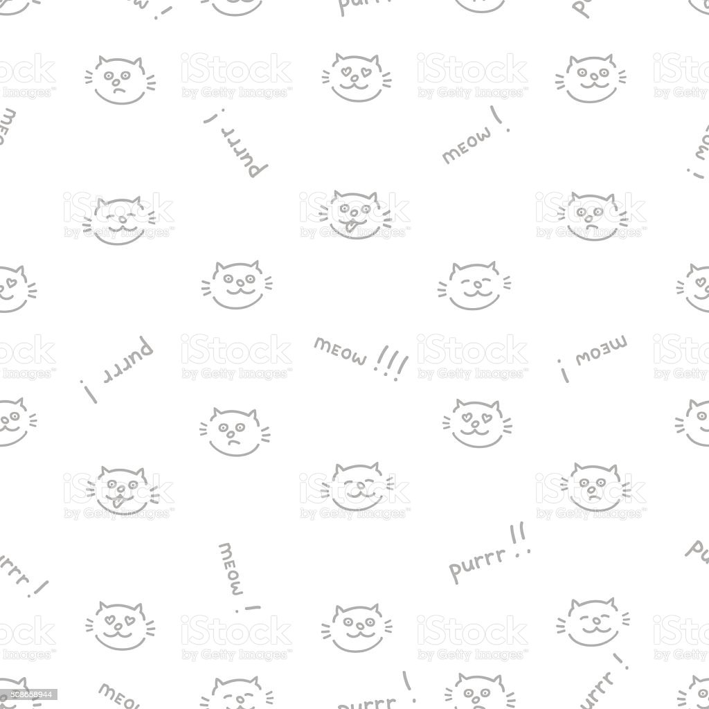The seamless vector pattern with cats vector art illustration