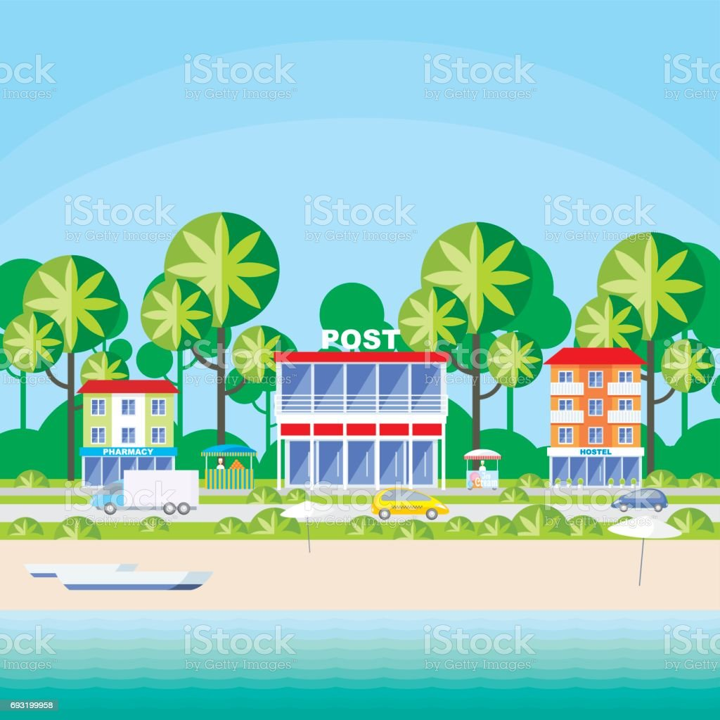 the seaside street vector art illustration