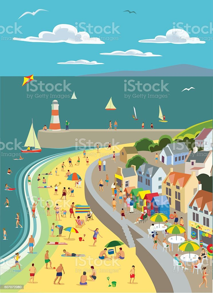The Seaside vector art illustration