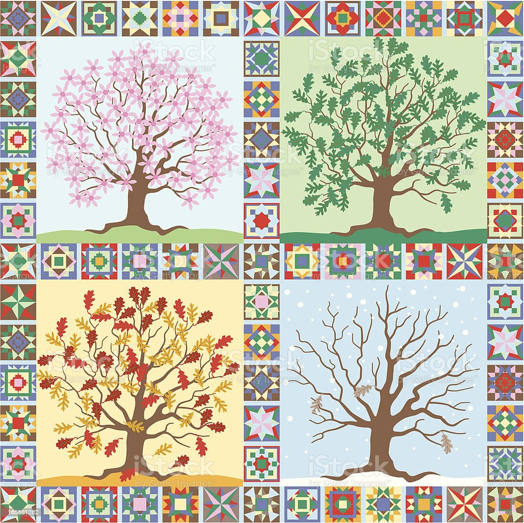 the seasons folk art quilt royalty-free stock vector art