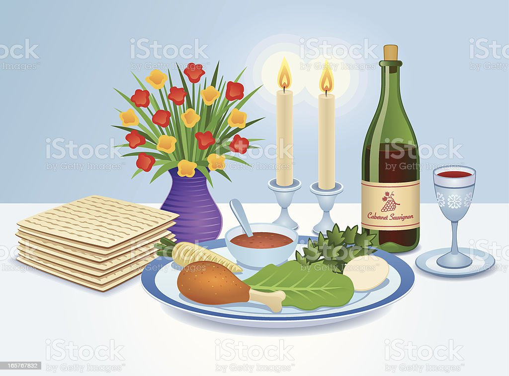 The Seder table vector art illustration