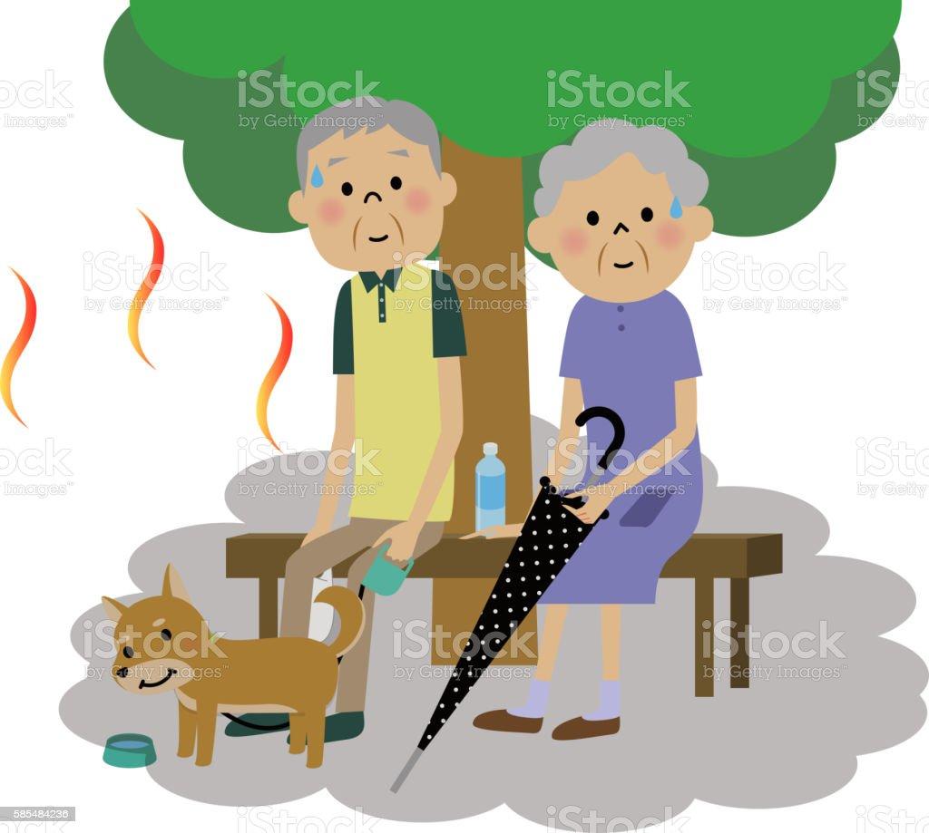 The senior citizen couple who takes a heat exhaustion measure vector art illustration