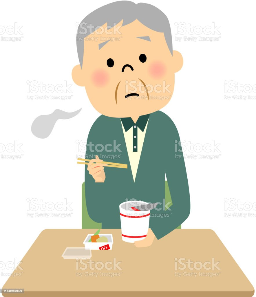 The senior citizen who has a meal by himself vector art illustration