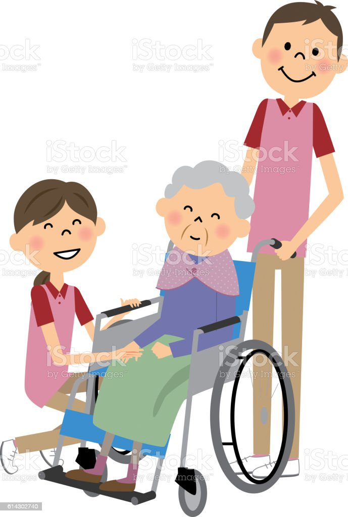 The senior citizen who sits down on a wheelchair vector art illustration