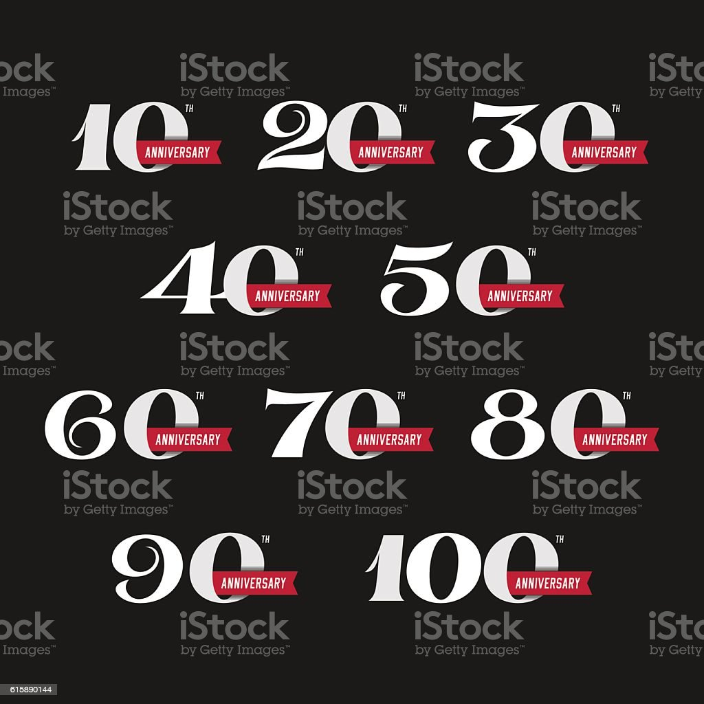 The set of anniversary signs from 10th to 100th vector art illustration