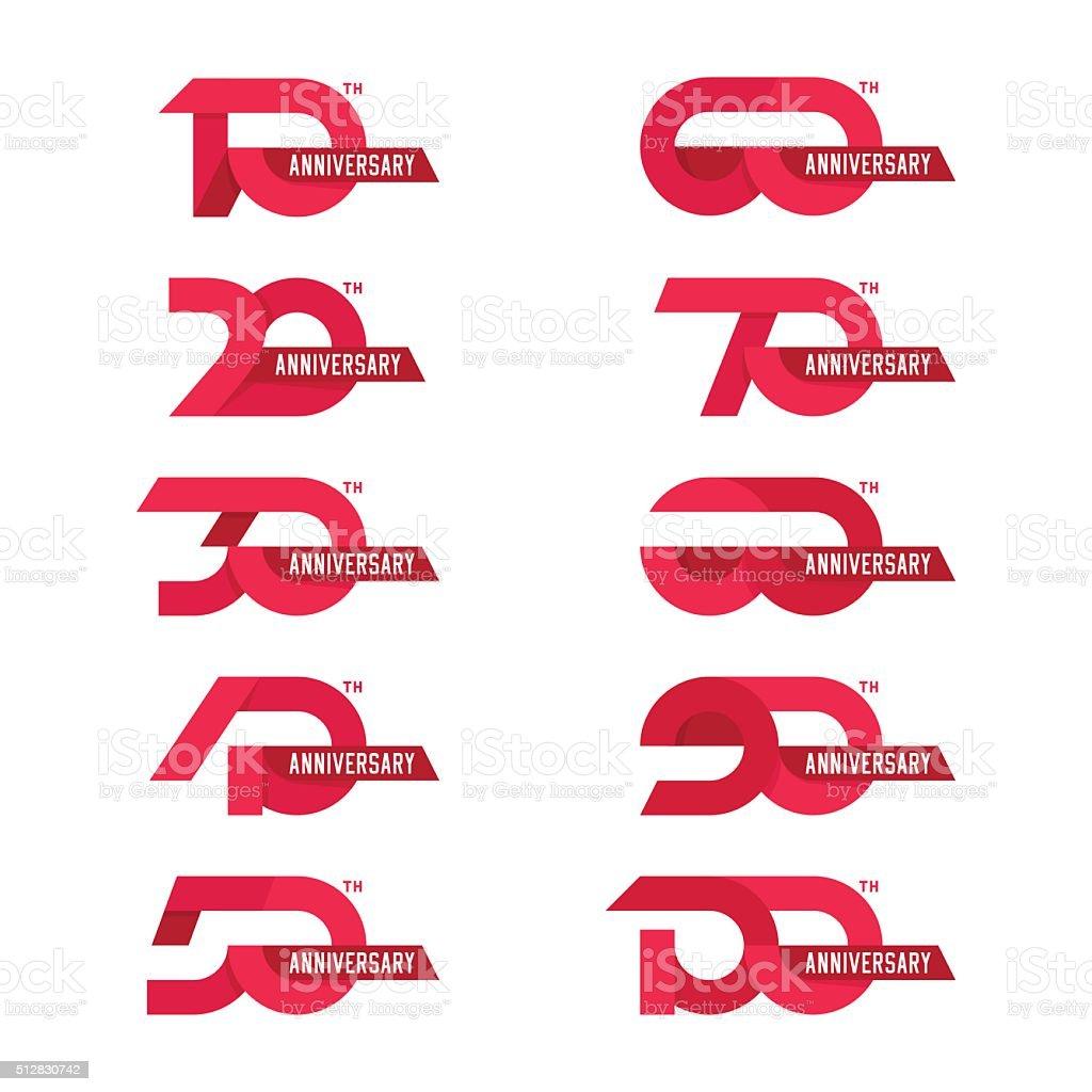 The set of anniversary signs vector art illustration