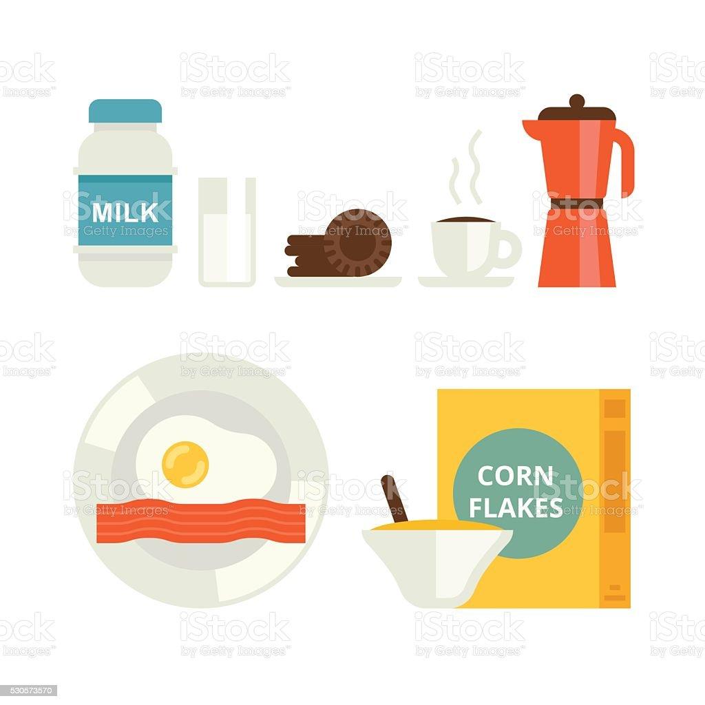 The set of breakfast vector icons vector art illustration