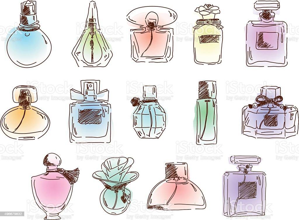 The set of cute different perfumes. Vector flat illustration. vector art illustration