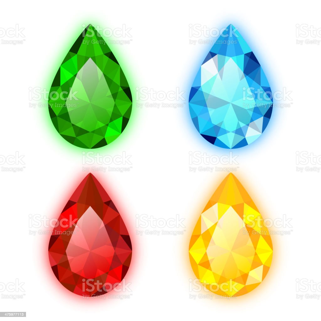 The Set of Four Colorful Gems Pear Shaped royalty-free stock vector art