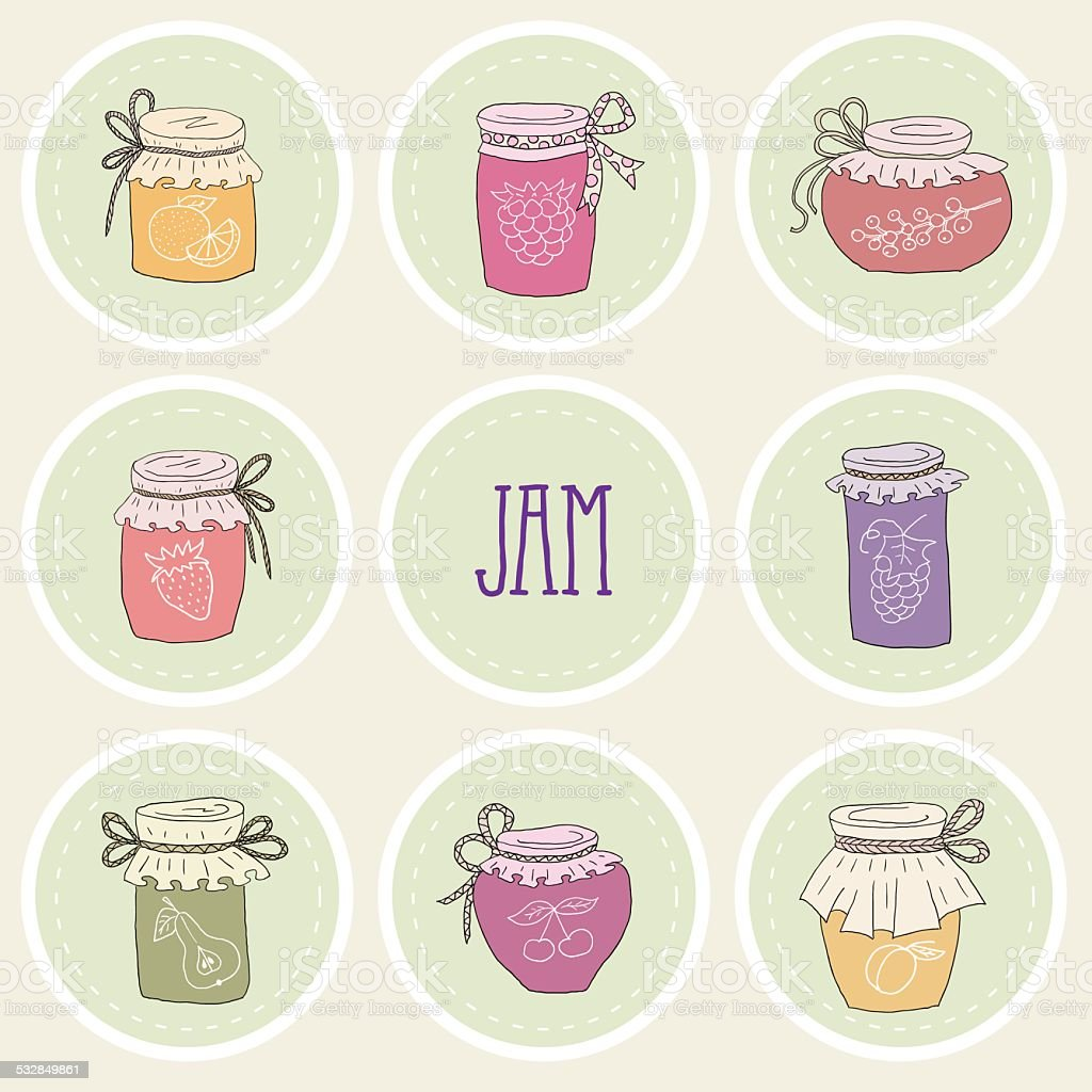 The set of hand drawn jars with home-made jams. vector art illustration