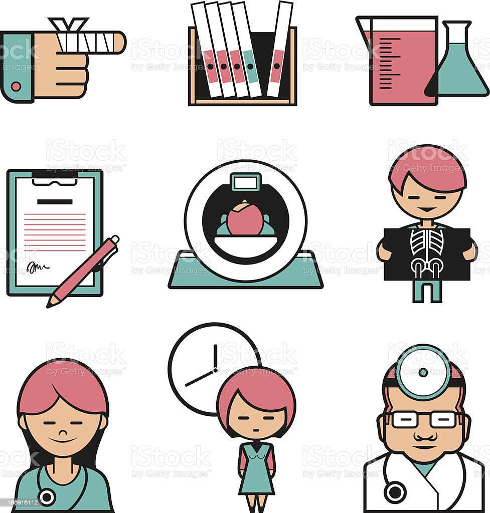 The set of medical diagnostics icons royalty-free stock vector art