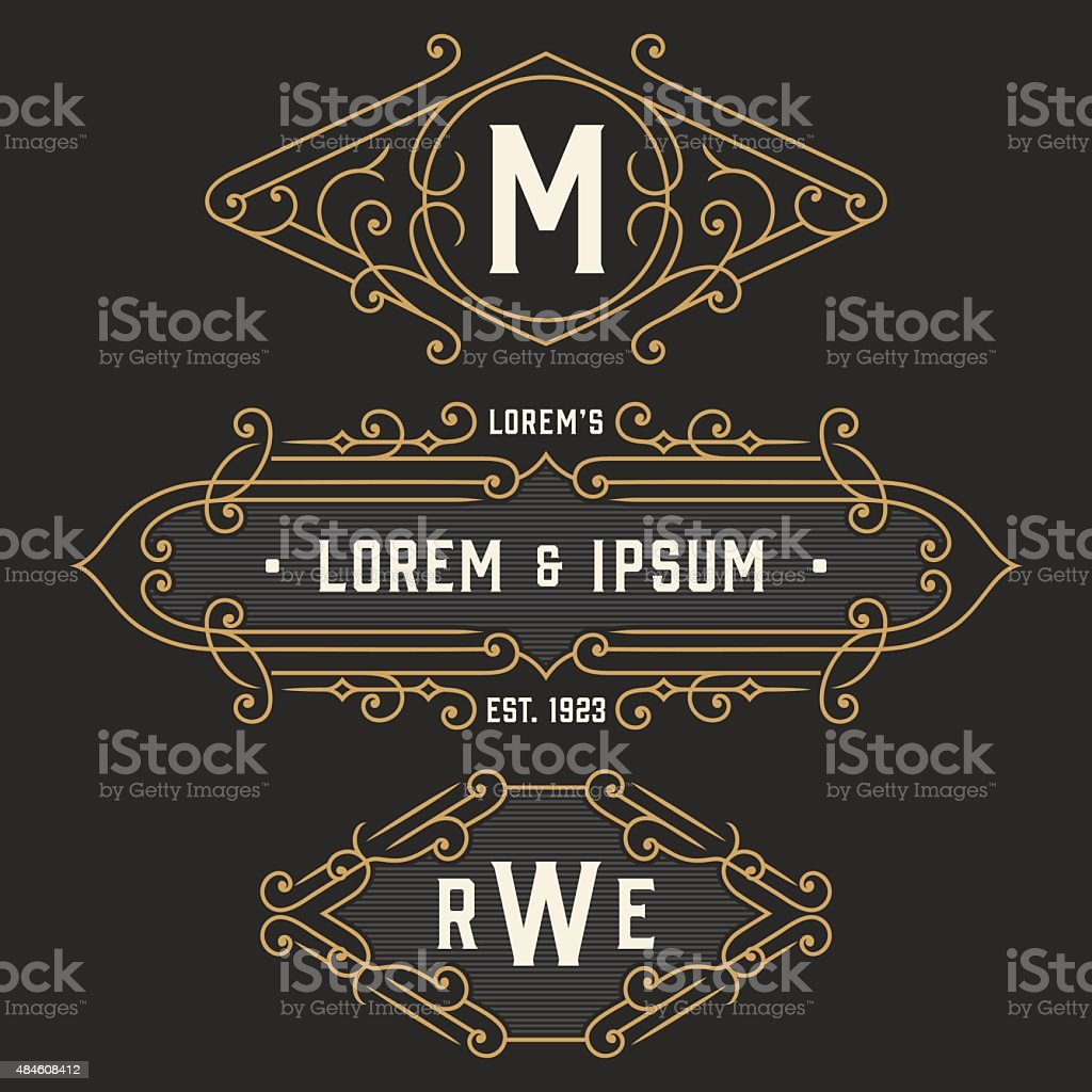 The set of stylish retro signs and emblem templates. vector art illustration
