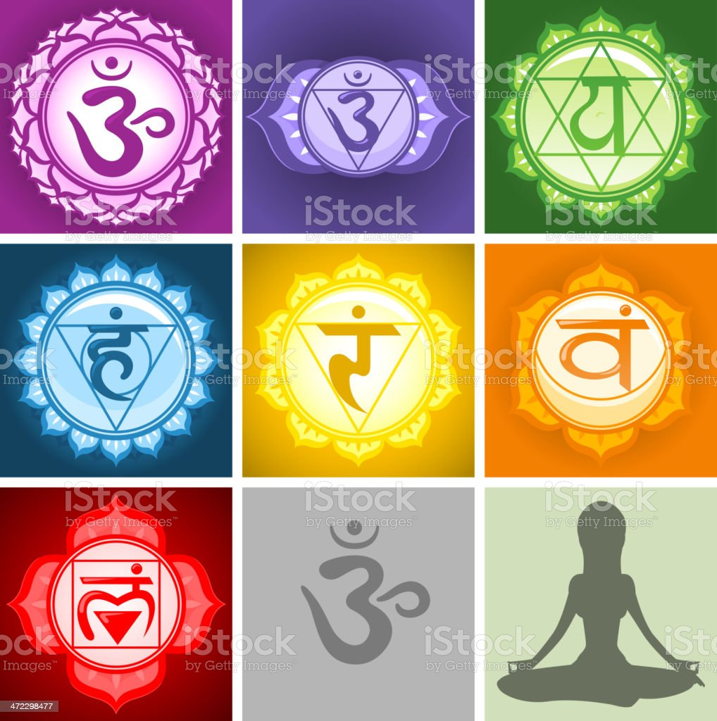 The seven Chakras and grey sitting lotus position silhouette royalty-free stock vector art