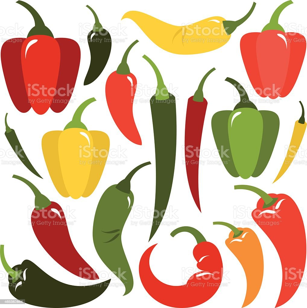 The shape and the multicolor varieties of pepper vector art illustration
