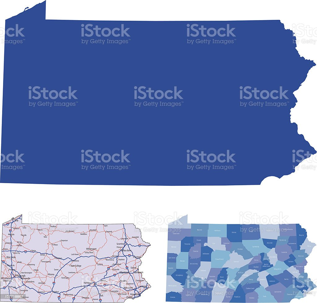 The shape of Pennsylvania in different colors vector art illustration