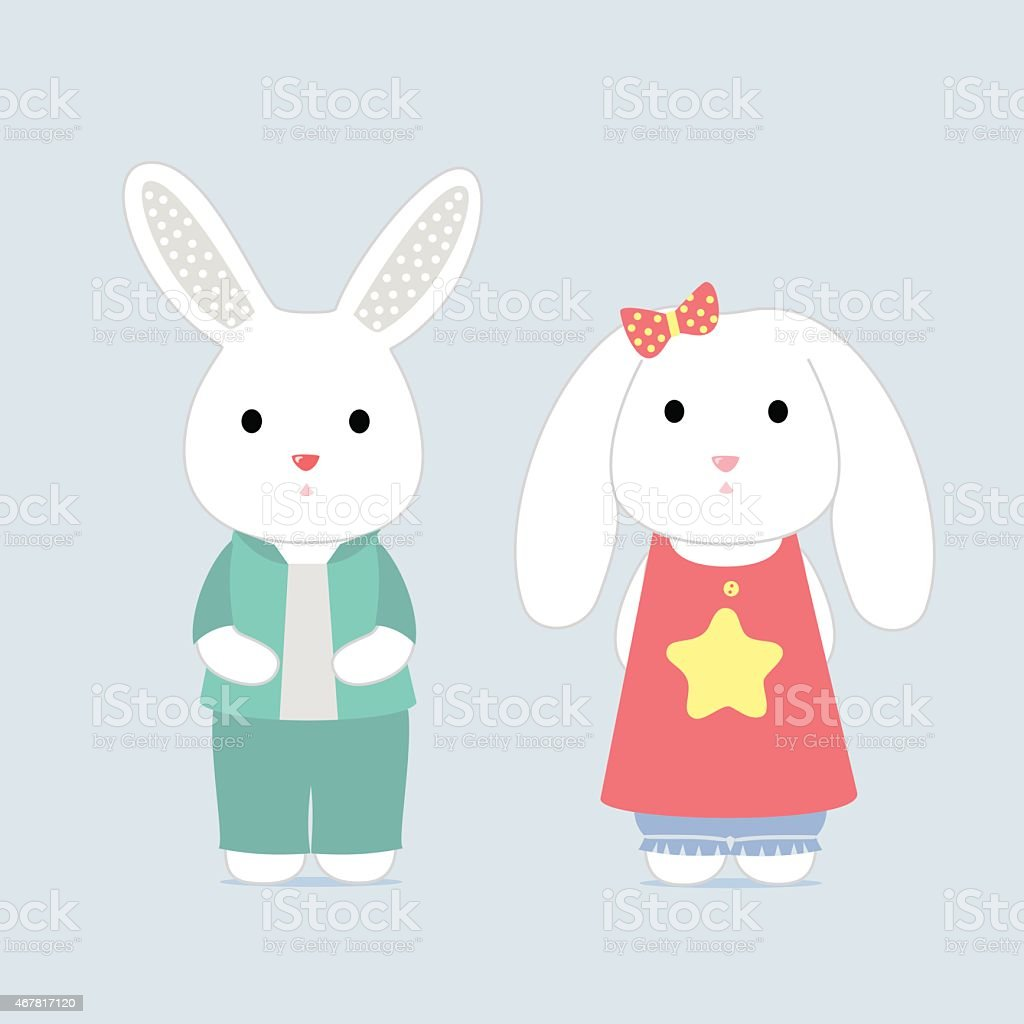 The shy bunnys, vector card vector art illustration