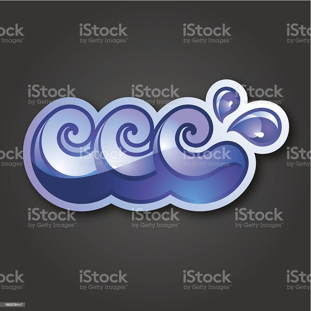 В знак-три фиолетовый и синий волны и капли векторная иллюстрация