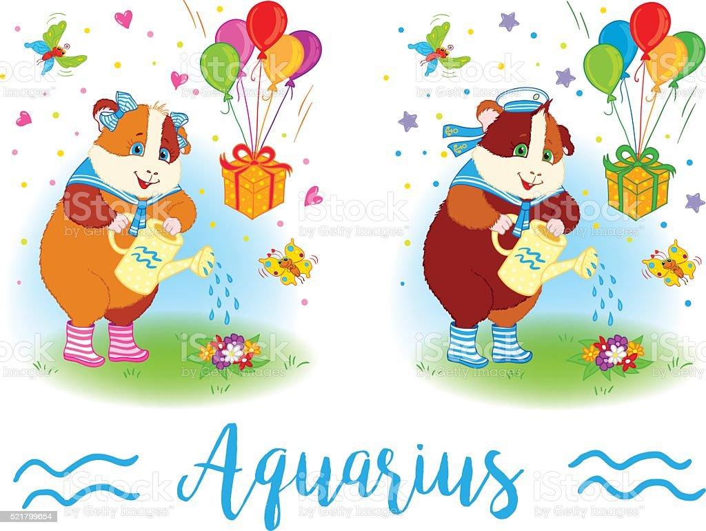 The signs of the zodiac. Guinea pig. Aquarius. vector art illustration