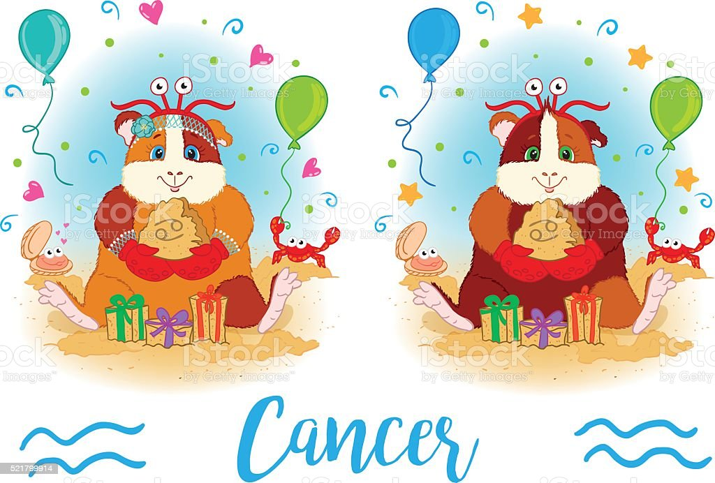 The signs of the zodiac. Guinea pig. Cancer. vector art illustration