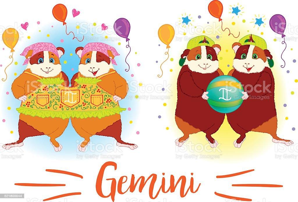 The signs of the zodiac. Guinea pig. Gemini. vector art illustration