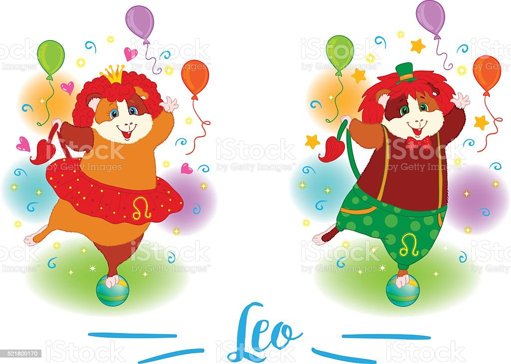The signs of the zodiac. Guinea pig. Leo. vector art illustration