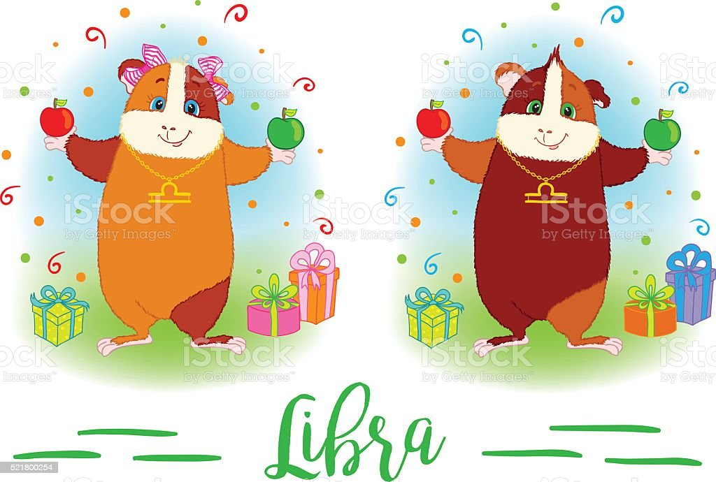 The signs of the zodiac. Guinea pig. Libra. vector art illustration
