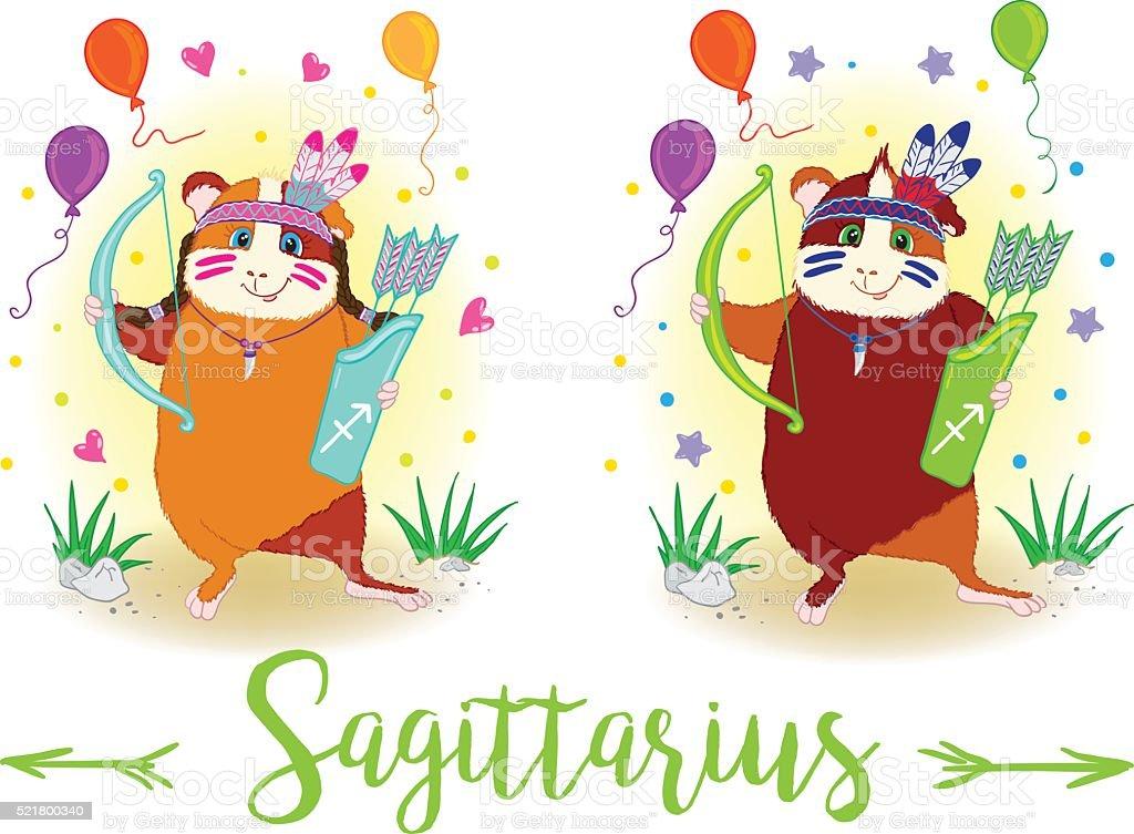 The signs of the zodiac. Guinea pig. Sagittarius. vector art illustration