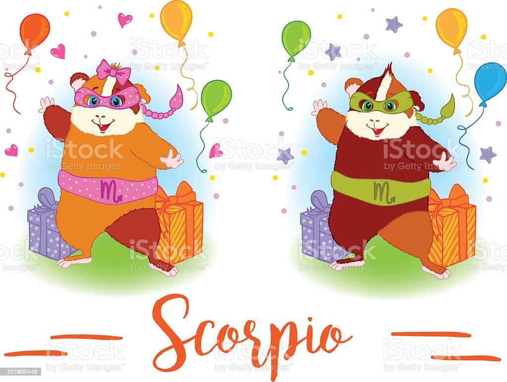 The signs of the zodiac. Guinea pig. Scorpio. vector art illustration