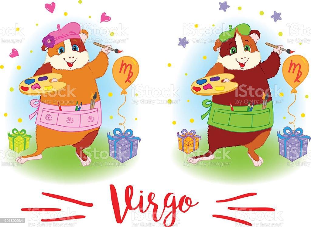 The signs of the zodiac. Guinea pig. Virgo. vector art illustration