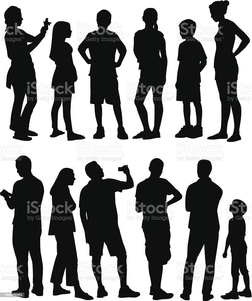 The silhouettes of two families on a white background vector art illustration